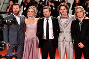 "(R-L) Tom Glynn-Carney, Timothée Chalamet, director David Michod, Lily-Rose Depp and Joel Edgerton attend ""The King"" red carpet during the 76th Venice Film Festival at Sala Grande on September 02, 2019 in Venice, Italy."
