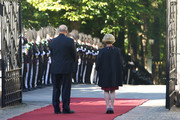 King Harald V of Norway and Queen Sonja of Norway wait for King Willem-Alexander and Queen Maxima of The Netherlands during their official visit to Oslo on October 2, 2013 in Oslo, Norway.