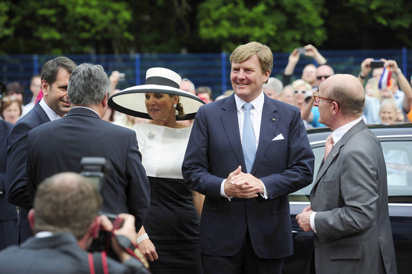 King Willem-Alexander of the Netherlands and Queen Maxima are pictured while arriving at the AUDI eGas research facility on May 26, 2014 in Werlte, Germany. The King and the Queen are on a two day journey across the State of Lower Saxony and North Rhine-Westphalia of Germany.