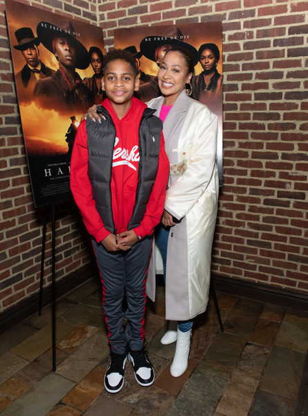 """Harriet"" New York Screening [uniform,event,jacket,harriet,la la anthony,kiyan carmelo anthony,l-r,new york,the roxy hotel,screening,new york screening]"