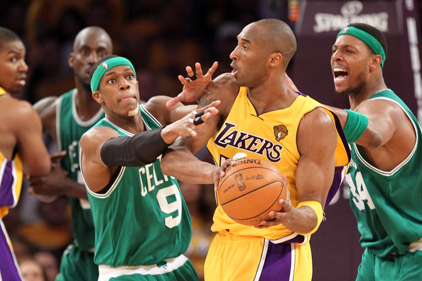 Rajon Rondo and Kobe Bryant - NBA Finals Game 7: Boston Celtics v Los