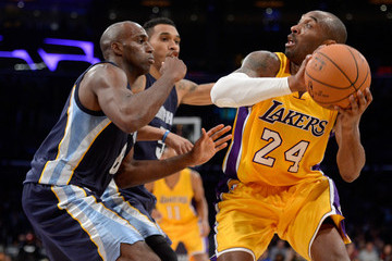 Kobe Bryant Courtney Lee Memphis Grizzlies v Los Angeles Lakers