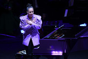 Alicia Keys performs during The Celebration of Life for Kobe & Gianna Bryant at Staples Center on February 24, 2020 in Los Angeles, California.