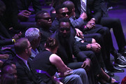 Bill Russell, James Harden and Russell Westbrook attend The Celebration of Life for Kobe & Gianna Bryant at Staples Center on February 24, 2020 in Los Angeles, California.