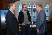 "(L-R). Film directors Joachim Ronning, Espen Sandberg, and journalist Lawrence O'Donnell attend the ""Kon-Tiki"" Celebration Luncheon at Explorers Club on April 5, 2013 in New York City."