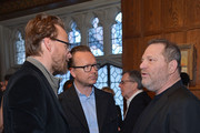 "(L-R) film directors Joachim Ronning, Espen Sandberg, and film producer Harvey Weinstein attend the ""Kon-Tiki"" Celebration Luncheon at Explorers Club on April 5, 2013 in New York City."