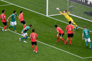 Hyeonwoo Jo of Korea Republic makes a save during the 2018 FIFA World Cup Russia group F match between Korea Republic and Germany at Kazan Arena on June 27, 2018 in Kazan, Russia.