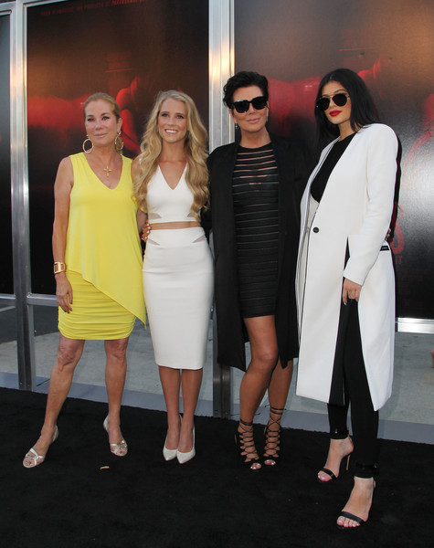 Celebrities Pose at the Premiere of New Line Cinema's 'The Gallows' Red Carpet [the gallows,clothing,fashion,dress,shoulder,eyewear,cocktail dress,event,fashion design,footwear,little black dress,kylie jenner,kris jenner,cassidy gifford,kathie lee gifford,l-r,hollywood high school,new line cinema,red carpet,premiere]