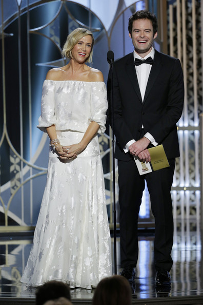 72nd Annual Golden Globe Awards Show [handout photo,clothing,dress,fashion,formal wear,wedding dress,gown,suit,event,bridal clothing,tuxedo,presenters,bill hader,kristen wiig,beverly hills,california,the beverly hilton hotel,nbcuniversal,annual golden globe awards,show]