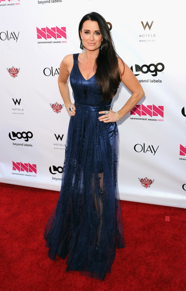 "Logo's ""NewNowNext Awards"" 2012 - Red Carpet [red carpet,red carpet,clothing,carpet,dress,shoulder,hairstyle,long hair,flooring,premiere,fashion,kyle richards,newnownext awards,california,hollywood,avalon,logo]"