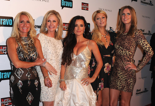 "Kyle Richards Socialites Kim Richards, Kathy Hilton, Kyle Richards, Paris Hilton and Nicky Hilton arrive at Bravo's ""The Real Housewives of Beverly Hills"" series party on October 11, 2010 in West Hollywood, California."