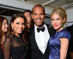 Eva Longoria, Amaury Nolasco and Hofiit Golan attend the L'Oreal And Cannes Film Festival 15 Anniversary Diner during the 65th Annual Cannes Film Festival at Plage Orange on May 17, 2012 in Cannes, France.