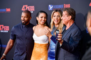 """Jamie Foxx, Corinne Foxx, Sistine Rose Stallone and Sylvester Stallone attends the LA Premiere of Entertainment Studios' """"47 Meters Down Uncaged"""" at Regency Village Theatre on August 13, 2019 in Westwood, California."""