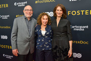 """Director Mark Jonathan Harris, Rhea Pearlman and Producer Deborah Oppenheimer attend the LA premiere of HBO's """"Foster"""" at Linwood Dunn Theater on April 22, 2019 in Los Angeles, California."""