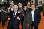"(L-R) Craig Brewer, Larry Karaszewski, Scott Alexander, Mike Epps, Netflix ‎Chief Content Officer Ted Sarandos, and Bob Odenkirk attends the LA premiere of Netflix's ""Dolemite Is My Name"" at Regency Village Theatre on September 28, 2019 in Westwood, California."