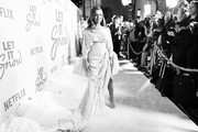 """(Editors note: this image has been converted to black and white) Isabela Moner attends the premiere of  Netflix's """"Let It Snow"""" at Pacific Theatres at The Grove on November 04, 2019 in Los Angeles, California."""