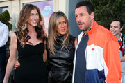 "(L-R) Jackie Sandler, Jennifer Aniston and Adam Sandler attend the LA premiere of Netflix's ""Murder Mystery"" at Regency Village Theatre on June 10, 2019 in Westwood, California."