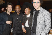 (L-R)  Music recording artist Chad Vaccarino of A Great Big World, Epic Records chairman and CEO LA Reid and music recording artists Janelle Monae and Ian Axel of A Great Big World attend the LA Reid and Epic Grammy Celebration presented By Luc Belaire at Craig's Restaurant on February 6, 2015 in West Hollywood, California.
