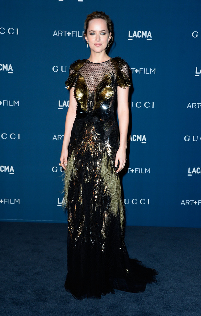 Actress Dakota Johnson arrive at the LACMA 2013 Art + Film Gala on November 2, 2013 in Los Angeles, California.