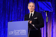 Starbucks chairman and CEO Howard Schultz on stage during the LDF 31th National Equal Justice Awards Dinner at Cipriani 42nd Street on November 2, 2017 in New York City.