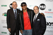"""(L-R) CEO of Jones Apparel Group Wes Card, recording artist LL Cool J  and Allan Ellinger attend the second annual """"Pay It Fashion Forward"""" party at M2 Ultra Lounge on June 18, 2009 in New York City."""