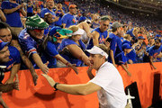 Head coach Dan Mullen of the Florida Gators celebrates with fans following a 27-19 victory over the LSU Tigers at Ben Hill Griffin Stadium on October 6, 2018 in Gainesville, Florida.
