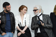 (L-R) Nicolas Ghesquiere, Emma Stone and Karl Lagerfeld attend the LVMH Prize 2018 Edition at Fondation Louis Vuitton on June 6, 2018 in Paris, France.