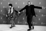 """Image has been converted to black and white.)  (L-R) Geraldine Chaplin and Udo Kier attend the """"La Fiera Y La Fiesta"""" (Holy Beasts) photocall during the 69th Berlinale International Film Festival Berlin at Grand Hyatt Hotel on February 13, 2019 in Berlin, Germany."""