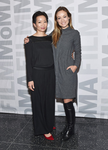 'Meadowland' New York Screening and Q&A [picture,clothing,fashion,dress,shoulder,little black dress,footwear,fashion design,joint,event,haute couture,olivia wilde,associate curator,la frances hui,q a,meadowland,museum of modern art,l,department of film,new york screening]
