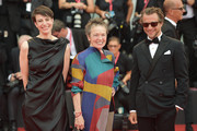"(L-R) Jury member Alysha Naples, Jury President Venice Virtual Reality Laurie Anderson and Jury Member Francesco Carrozzini walk the red carpet ahead of the Opening Ceremony and the ""La Vérité"" (The Truth) screening during the 76th Venice Film Festival at Sala Grande on August 28, 2019 in Venice, Italy."
