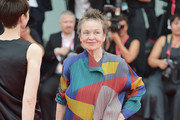 "Jury President Venice Virtual Reality Laurie Anderson walks the red carpet ahead of the Opening Ceremony and the ""La Vérité"" (The Truth) screening during the 76th Venice Film Festival at Sala Grande on August 28, 2019 in Venice, Italy."