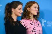 Yvonne Catterfeld and Lea Seydoux attend the 'La belle et la bete' (Die Schoene und das Biest) photocall during 64th Berlinale International Film Festival at Grand Hyatt Hotel on February 14, 2014 in Berlin, Germany.