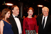 (L-R) Actress Yvonne Catterfeld, director Christophe Gans, actress Lea Seydoux and actor Andre Dussollier attend the 'La belle et la bete' (Die Schoene und das Biest) premiere during 64th Berlinale International Film Festival at Berlinale Palast on February 14, 2014 in Berlin, Germany.