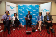 Andy Burnham, Liz Kendall, Yvette Cooper and Jeremy Corbyn take part in a radio hustings hosted by presenter Nicky Campbell (C) on August 25, 2015 in Stevenage, England. Candidates are continuing to campaign for Labour party leadership with polls placing left-winger Jeremy Corbyn in the lead. Voting is due to begin on the 14th of August with the result being announced on the 12th of September.