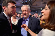 Jeremy Corbyn (C) is announced as the new leader of the Labour Party at the Queen Elizabeth II conference centre on September 12, 2015 in London, England. Mr Corbyn was announced as the new Labour leader today following three months of campaigning against fellow candidates minister Andy Burnham (L) and shadow minister Liz Kendall (R). The leadership contest comes after Ed Miliband's resignation following the general election defeat in May.