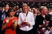 Johanna Baxter (L), Harriet Harman (C) and  Margaret Beckett (R) applaud Labour Leader Jeremy Corbyn during his first leadership speech on September 29, 2015 in Brighton, England. The four day annual Labour Party Conference takes place in Brighton and is expected to attract thousands of delegates with keynote speeches from influential politicians and over 500 fringe events.