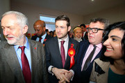 Labour party leader Jeremy Corbyn (L) and Deputy Leader Tom Watson stand alongside Labour candidate Jim McMahon (C) during a launch event at the party's campaign centre on November 6, 2015 in Oldham, England. Following the death of the Labour MP and former Shadow Cabinet member, Michael Meacher, who held the seat since 1997, a by-election will be held in the Oldham West and Royton Constituency on December 3.