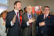 Labour party leader Jeremy Corbyn (C) and Deputy Leader Tom Watson (R) alongside Labour candidate Jim McMahon stand during a launch event at the party's campaign centre on November 6, 2015 in Oldham, England. Following the death of the Labour MP and former Shadow Cabinet member, Michael Meacher, who held the seat since 1997, a by-election will be held in the Oldham West and Royton Constituency on December 3.