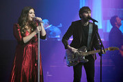 "Recording artists Hillary Scott (L) and Dave Haywood of Lady Antebellum perform as the band kicks off its 15-show residency ""Our Kind of Vegas"" at The Pearl concert theater at Palms Casino Resort on February 8, 2019 in Las Vegas, Nevada."