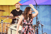 "Hillary Scott and of Lady Antebellum and her husband, drummer Chris Tyrrell perform on ABC's ""Good Morning America"" at Rumsey Playfield on July 14, 2017 in New York City."