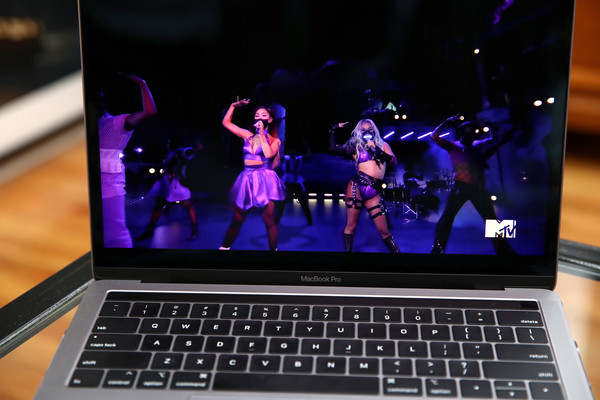 2020 MTV Video Music Awards [laptop,netbook,technology,electronic device,computer,display device,personal computer,multimedia,space bar,computer hardware,laptop,netbook,computer,display device,device,lady gaga,ariana grande,l-r,photo illustration,mtv video music awards,display device,computer keyboard,netbook,electronic machine,electronics,computer monitor]