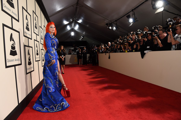 The 58th GRAMMY Awards - Red Carpet [red carpet,red carpet,carpet,flooring,fashion,red,dress,premiere,haute couture,event,runway,lady gaga,grammy awards,staples center,los angeles,california,the 58th grammy awards]