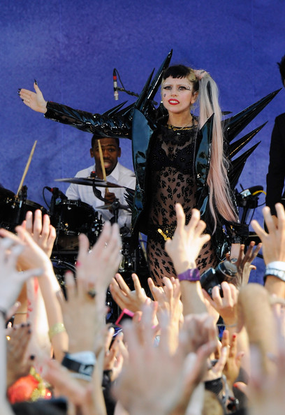 "Lady Gaga (FOR EDITORIAL USE ONLY. IMAGE AVAILABLE UNTIL JUNE 26, 2011 ONLY.) Lady Gaga performs on ABC's ""Good Morning America"" at Rumsey Playfield, Central Park on May 27, 2011 in New York, United States."