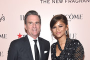 Lancôme Ambassador Zendaya poses for a photo with Macy's CEO Jeff Gennette as she celebrates Idôle Fragrance launch at Macy's Herald Square on September 04, 2019 in New York City.