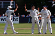 Dominic Cork of Hampshire celebrates with Sean Ervine after taking the wicket of Paul Horton of Lancashire during the LV County Championship match between Lancashire and Hampshire at Liverpool Cricket Club on August 31, 2010 in Liverpool, England.