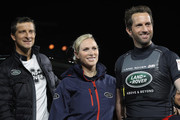 (L-R) Bear Grylls, Zara Phillips and Sir Ben Ainslie pose during the launch of Land Rover's 'New Discovery' at Packington Hall on September 28, 2016 in Solihull, England. Land Rover revealed their brand new Discovery with the help of ambassadors Zara Phillips, Bear Grylls and Sir Ben Ainslie against the backdrop of the replica of Londons Tower Bridge, made entirely from Lego. The structure broke the Guinness World Record for the greatest number of Lego bricks used in a sculpture with over 5.8 million pieces.