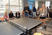 Jamie Murray (L) and Katie Swan play ping pong as The Langham, New York, Fifth Avenue celebrates U.S. Open Tennis with Andy Murray and SPiN Studios on August 25, 2018 in New York City.
