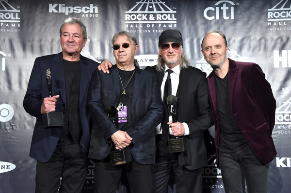 31st Annual Rock and Roll Hall of Fame Induction Ceremony - Press Room [rock and roll hall of fame induction ceremony - press room,event,premiere,lars ulrich,ian paice,ian gillan,roger glover,stage,l-r,press room,deep purple,metallica]