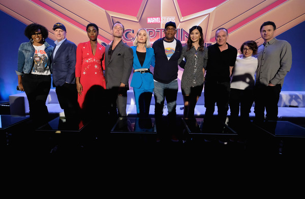 Marvel Studios' 'Captain Marvel' Global Junket Press Conference [captain marvel,event,youth,sky,performance,stage,team,crowd,talent show,convention,jacqueline coley,kevin feige,president,actors,directors,samuel l. jackson,l-r,marvel studios,global junket press conference]