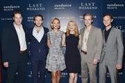 """(L-R)  Director Tom Dolby poses with actors Fran Kranz, Alexia Rasmussen, Patricia Clarkson, Zachary Booth and Joseph Cross at the Sundance Selects & The Cinema Society special screening of """"Last Weekend"""" at Tribeca Grand Hotel on August 13, 2014 in New York City."""